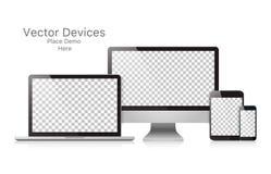 Dispositifs réalistes réglés de vecteur sur un fond blanc illustration libre de droits