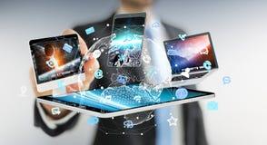 Dispositifs se reliants de technologie d'homme d'affaires avec un rendu du stylo 3D Images libres de droits