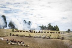 Disposition of armies on the battlefield. Recreation of the Napoleonic battle, siege of the castle of Burgos. Wellington ad portas, Spain Stock Photography