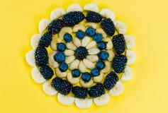Disposition circulaire de mandala des baies et des écrous sains images stock
