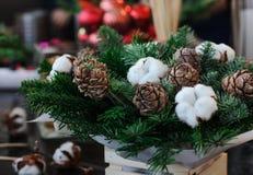 Disposition d'hiver des cônes, des branches et de coton de sapin sur Flor photos stock