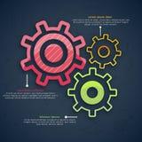 Disposition d'Infographic avec la roue dentée colorée Photos libres de droits