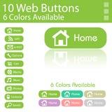 Disposition de 10 boutons de Web. 6 couleurs différentes Images libres de droits