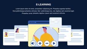 Disposition de bannière de Web de vecteur d'apprentissage en ligne avec Copyspace illustration libre de droits
