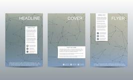 Disposition de calibre de brochure, insecte, couverture, rapport annuel, magazine dans la taille A4 Structure des particules et d Photos libres de droits
