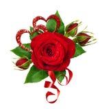 Disposition de fête avec des coeurs de fleur et de scintillement de rose de rouge Photographie stock libre de droits