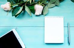 Disposition de fond de ressort sur un fond en bois bleu avec des fleurs des roses bloc-notes et feuilles pour des disques de styl Photos stock