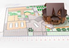 Disposition de la maison sur le dessin Aménagement et desig de jardin Image libre de droits