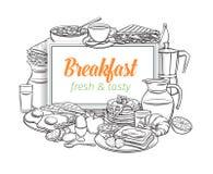 Disposition de petit déjeuner, contour illustration de vecteur