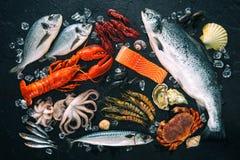 Disposition de poisson frais et de fruits de mer sur la pierre noire photographie stock libre de droits