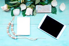 Disposition de ressort sur un fond en bois bleu avec des fleurs et des feuilles de bloc-notes de pétales pour des disques de télé Photos libres de droits