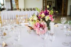 Disposition de table de mariage Photographie stock libre de droits