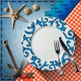 Disposition de Tableau pour le menu de fruits de mer Photographie stock