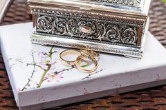 Disposition des anneaux de mariage, de l'amour et du concept de mariage Images libres de droits
