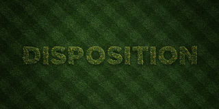 DISPOSITION - fresh Grass letters with flowers and dandelions - 3D rendered royalty free stock image Stock Photography
