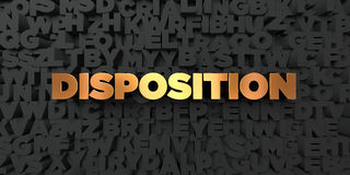 Disposition - Gold text on black background - 3D rendered royalty free stock picture Stock Photo