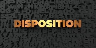 Disposition - guld- text på svart bakgrund - 3D framförd fri materielbild för royalty Arkivfoto
