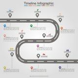 Disposition infographic d'élément de chronologie de route Vecteur Photo stock