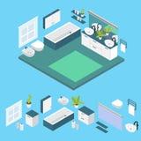 Disposition isométrique de salle de bains illustration stock