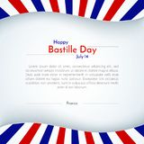 Disposition patriotique de bannière de brochure de fond de drapeau de la France d'affiche avec des lignes rayures de jour de bast illustration de vecteur