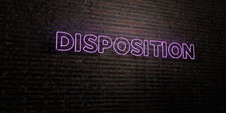 DISPOSITION -Realistic Neon Sign on Brick Wall background - 3D rendered royalty free stock image Royalty Free Stock Photography