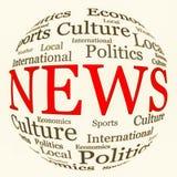 Disposition relative de mots d'actualités en forme sphérique Images libres de droits