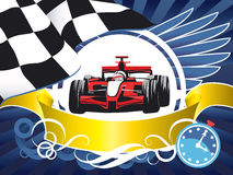 Disposition sur un thème de sports, voiture de course, kart, concurrence, championnat, gagnant Photos libres de droits