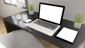dispositivi da tavolino neri Immagine Stock Libera da Diritti