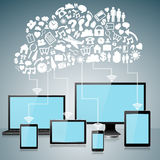 Dispositivi del computer con le icone di calcolo della nuvola Fotografie Stock Libere da Diritti
