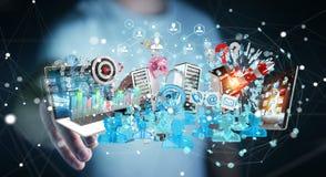 Dispositivi dell'uomo d'affari e oggetti business di collegamento insieme 3D Fotografia Stock