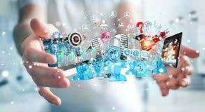 Dispositivi dell'uomo d'affari e oggetti business di collegamento insieme 3D Immagini Stock