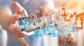 Dispositivi dell'uomo d'affari e oggetti business di collegamento insieme 3D Immagine Stock Libera da Diritti