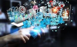Dispositivi dell'uomo d'affari e oggetti business di collegamento insieme 3D Fotografie Stock Libere da Diritti
