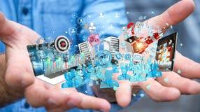 Dispositivi dell'uomo d'affari e oggetti business di collegamento insieme 3D Immagine Stock