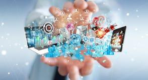 Dispositivi dell'uomo d'affari e oggetti business di collegamento insieme 3D Fotografia Stock Libera da Diritti
