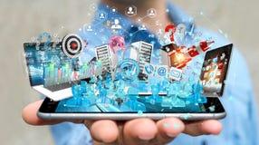 Dispositivi dell'uomo d'affari e oggetti business di collegamento insieme 3D Immagini Stock Libere da Diritti