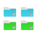 Dispositivi di piegatura blu e verdi Fotografia Stock