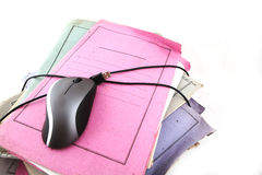 Dispositivi di piegatura con il mouse del calcolatore Fotografia Stock Libera da Diritti