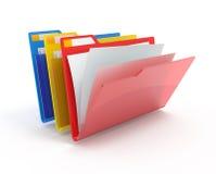 Dispositivi di piegatura rossi, gialli, blu. Fotografia Stock