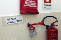 Dispositivi di segnalazione per gestione delle emergenze in una scuola materna Fotografie Stock Libere da Diritti