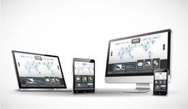 Dispositivi e sito Web multipli Immagini Stock