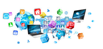 Dispositivi ed applicazioni delle icone che si collegano l'un l'altro Immagini Stock