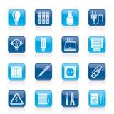 Dispositivi elettrici ed icone dell'attrezzatura Fotografie Stock Libere da Diritti