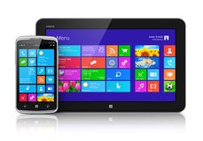 Dispositivi mobili con l'interfaccia dello schermo attivabile al tatto Immagini Stock Libere da Diritti