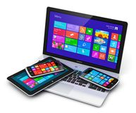 Dispositivi mobili con l'interfaccia dello schermo attivabile al tatto Immagine Stock