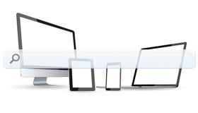 Dispositivi moderni con la barra vuota di web Immagini Stock