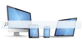 Dispositivi moderni con la barra vuota di web Fotografia Stock