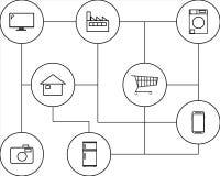 Dispositivi per Internet delle cose IoT Fotografia Stock Libera da Diritti