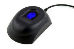 Dispositivo biométrico con la huella digital azul fotos de archivo libres de regalías