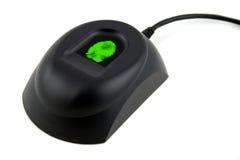 Dispositivo biométrico con la huella digital verde foto de archivo